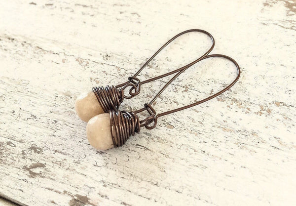Jade Tear Drop Cute Gemstone Dangle Boho Earrings, Simple Cream Stone Bohemian Small Ivory Earrings