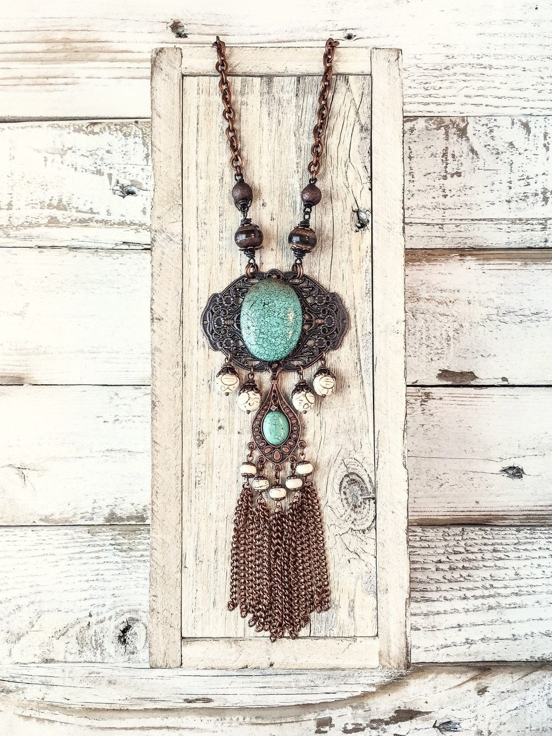 Turquoise Stone Necklace, Bohemian Statement Necklace, Gypsy Long Necklace, Rustic Style Necklace, Blue Filigree Necklace, N213.2