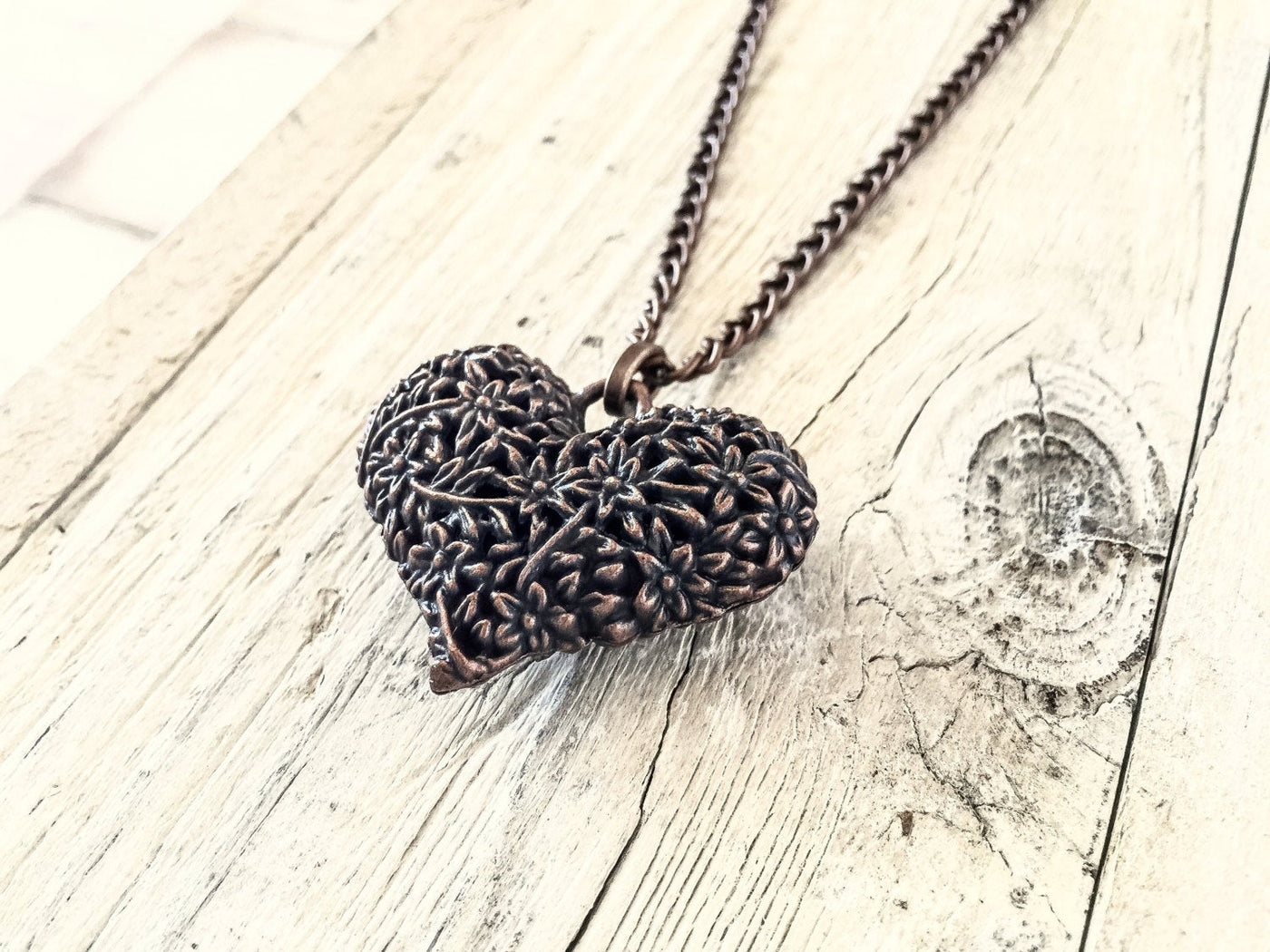 Heart Pendant, Copper Metal Necklace, Boho Heart Necklace, Long Necklace, Valentine's Day Necklace, N113