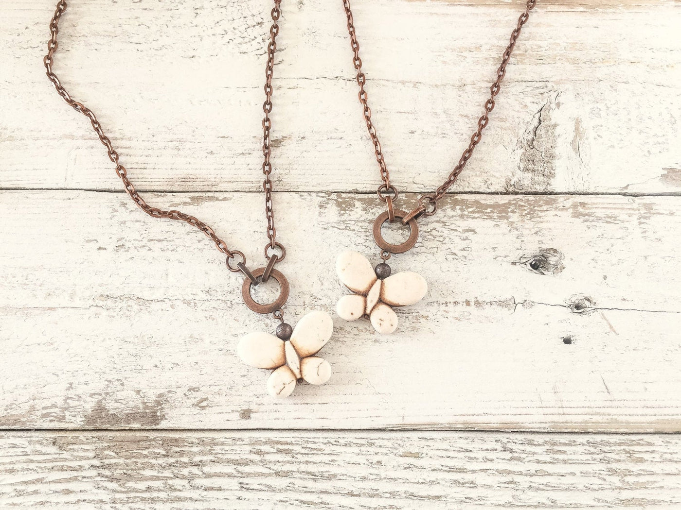 Butterfly Pendant, White Butterfly Necklace, Boho White Necklace, Long Stone Necklace, N104.1