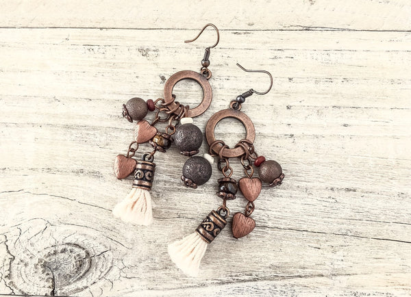 Gypsy Earrings, Tassel Earrings, Bohemian Earrings, Boho Earrings, Hippie Earrings, Rustic Earrings, E 117