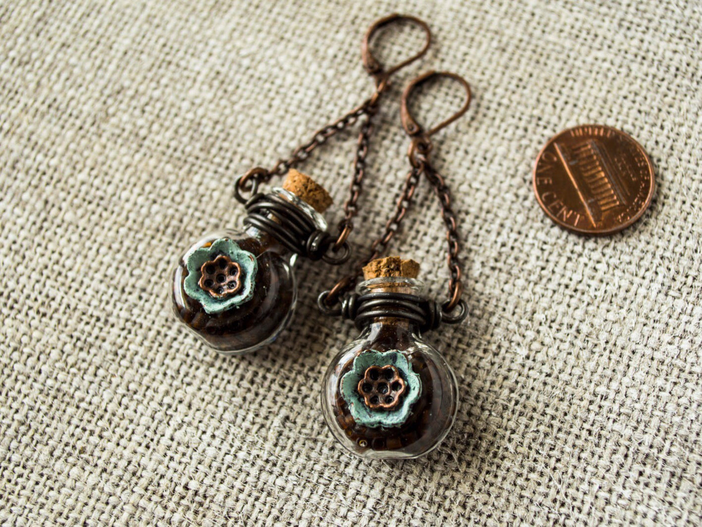 Bottle Earrings, Flask Earrings, Gypsy Earrings, Flower Earrings, Bohemian Earrings, Glass Earrings, Boho Earrings, E035