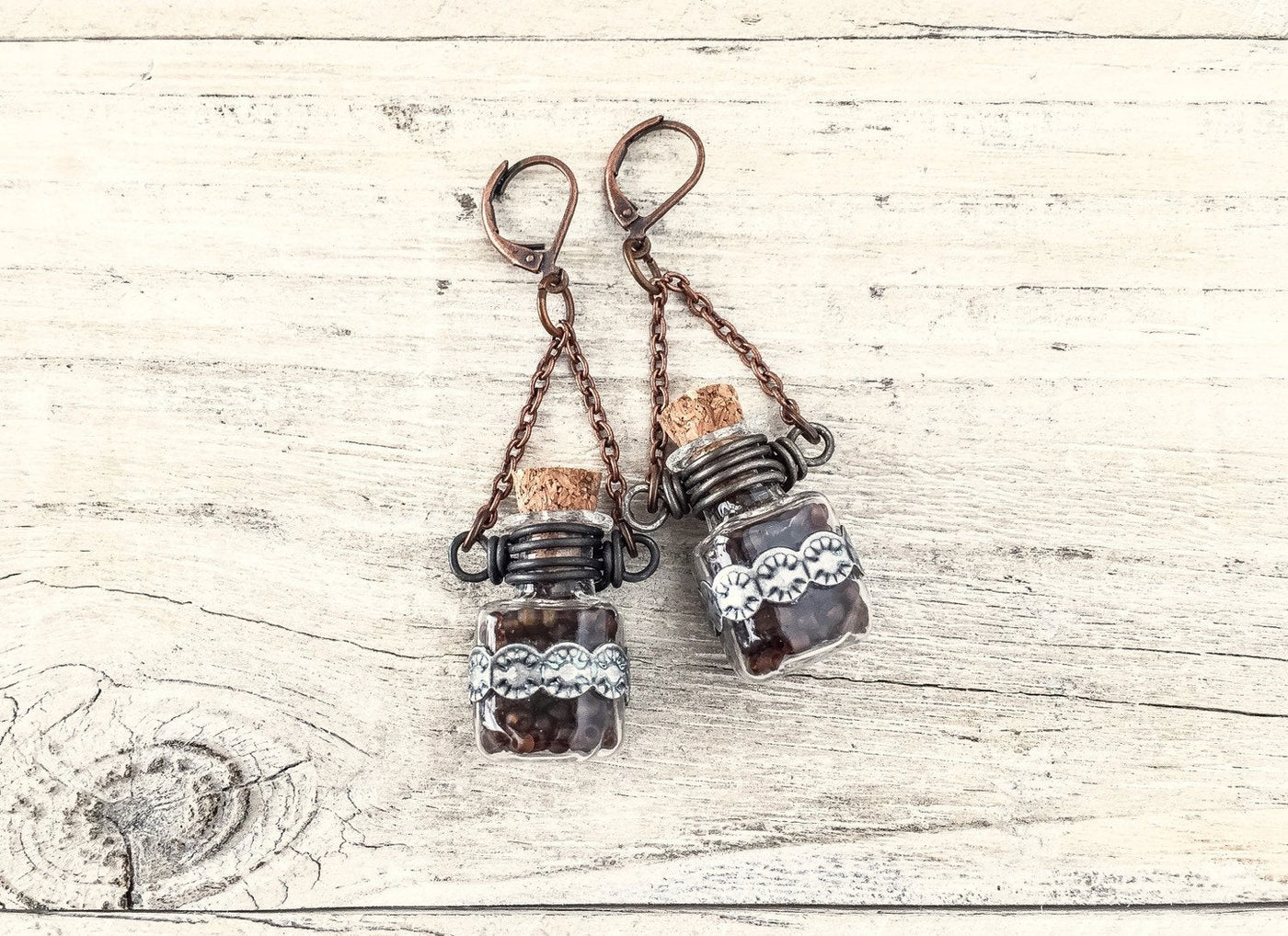 Bottle Earrings, Boho Earrings, Gypsy Earrings, Hippie Earrings, Bohemian Earrings,  E 111