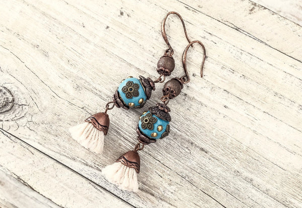 Gypsy Blue Tassel Earrings, Turquoise Earrings, Flower Gypsy Earrings, Bohemian Earrings, Blue Clay Earrings, Blue Boho Earrings, E030