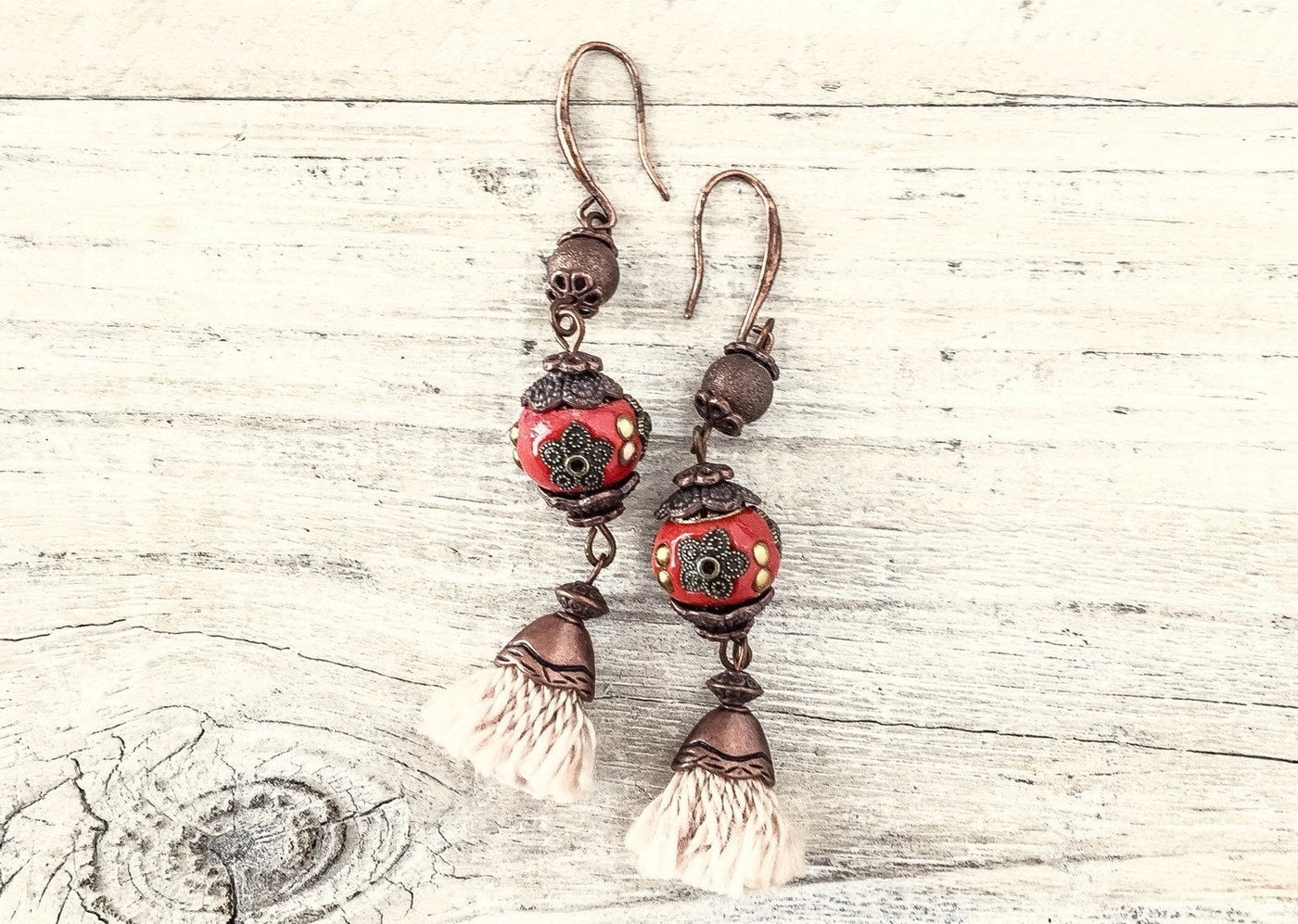 Gypsy Red Tassel Earrings, Red Earrings, Flower Gypsy Earrings, Bohemian Earrings, Red Clay Earrings, Boho Earrings, E030