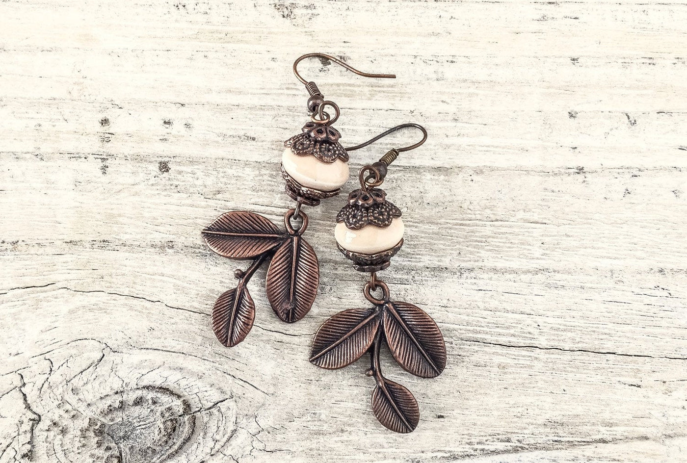 Cream Leaf Earrings, Boho Earrings, Gypsy Earrings, Three Leaf Earrings, Bohemian Earrings, Ceramic Earrings, E120