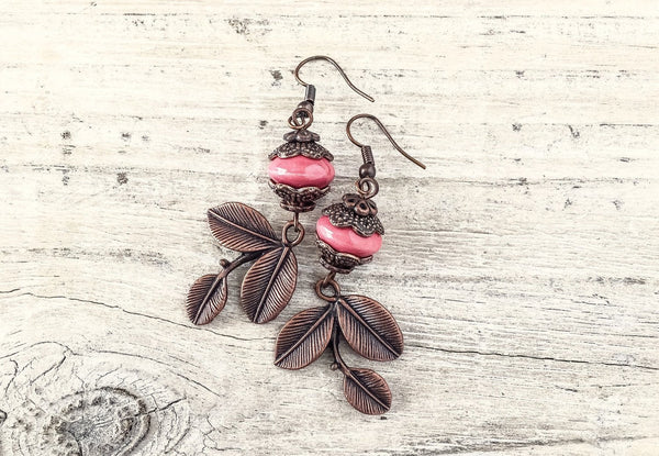 Pink Leaf Earrings, Boho Earrings, Gypsy Earrings, Three Leaf Earrings, Bohemian Earrings, Ceramic Earrings, E120