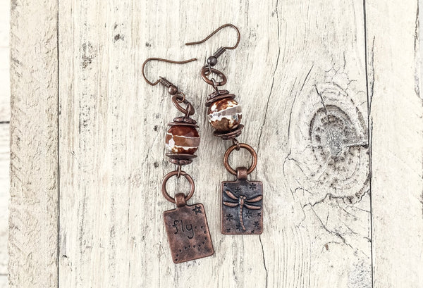 Dragonfly Gypsy Agate Rustic Boho Gypsy Fly Earrings, Insect Rustic Earthy Simple Hippie Freedom Bohemian Metal Copper Jewelry