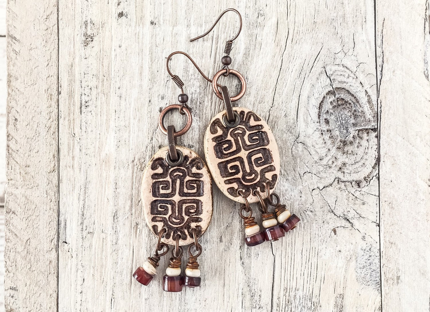 Ethnic Tribal Earrings, African Clay Earrings, Bohemian Gypsy Earrings, Egyptian Stamped Earrings, Rustic Earthy Earrings, E048