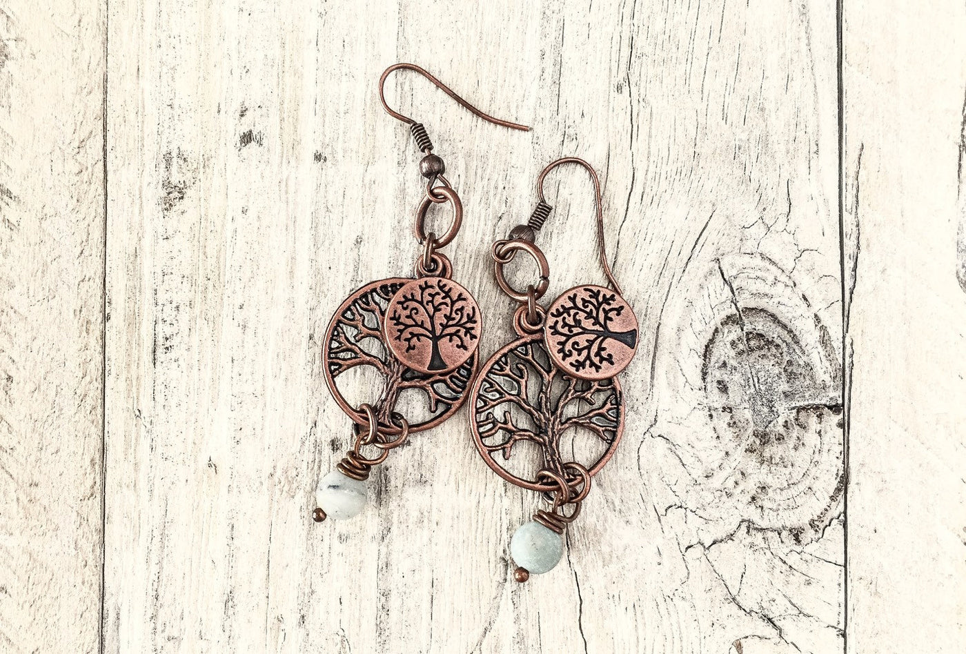 Tree of Life Boho Gypsy Family Tree Earrings, Symbol Meaning Amazonite Mother Gift