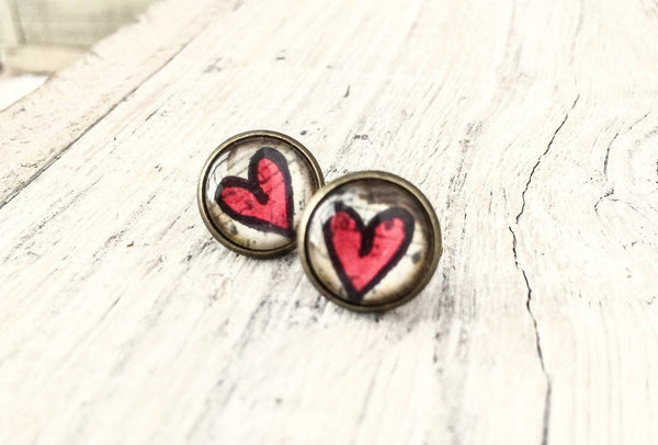 Heart Stud Earrings, Cabochon Earrings, Tiny Stud Earrings, Bohemian Gypsy Earrings