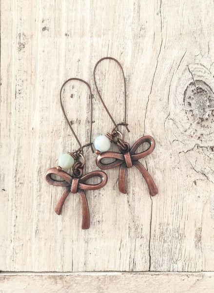 Bow Earrings, Cute Bow Earrings, Long Dangle Earrings, Boho Simple Earrings, Blue Amazonite Earrings, E136.1