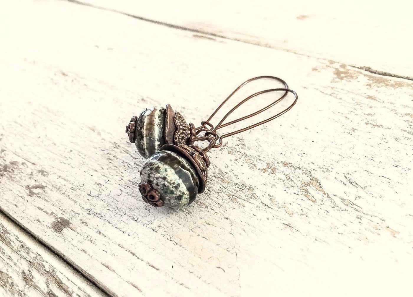 Earthy Green Agate - Rustic Striped Gemstone Earthy Cute Lovely Gift for Her Elegant Boho Simple Dangle Stone Tibetan Agate Jewelry