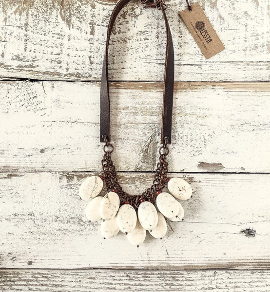 White Stone Necklace, Statement Necklace, Boho Earthy Necklace, Gift Necklace, Blue Stone Necklace, N110.4