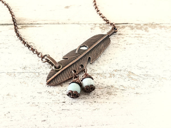 Feather Pendant, Boho Feather Necklace, Feather and Stone Necklace, Long Feather Pendant, N179