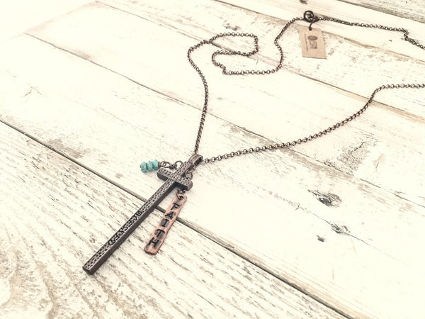 Cross Pendant, Faith Cross Necklace, Blessed Christian Necklace, Blessed and Faith Necklace, Long Cross Necklace, N184