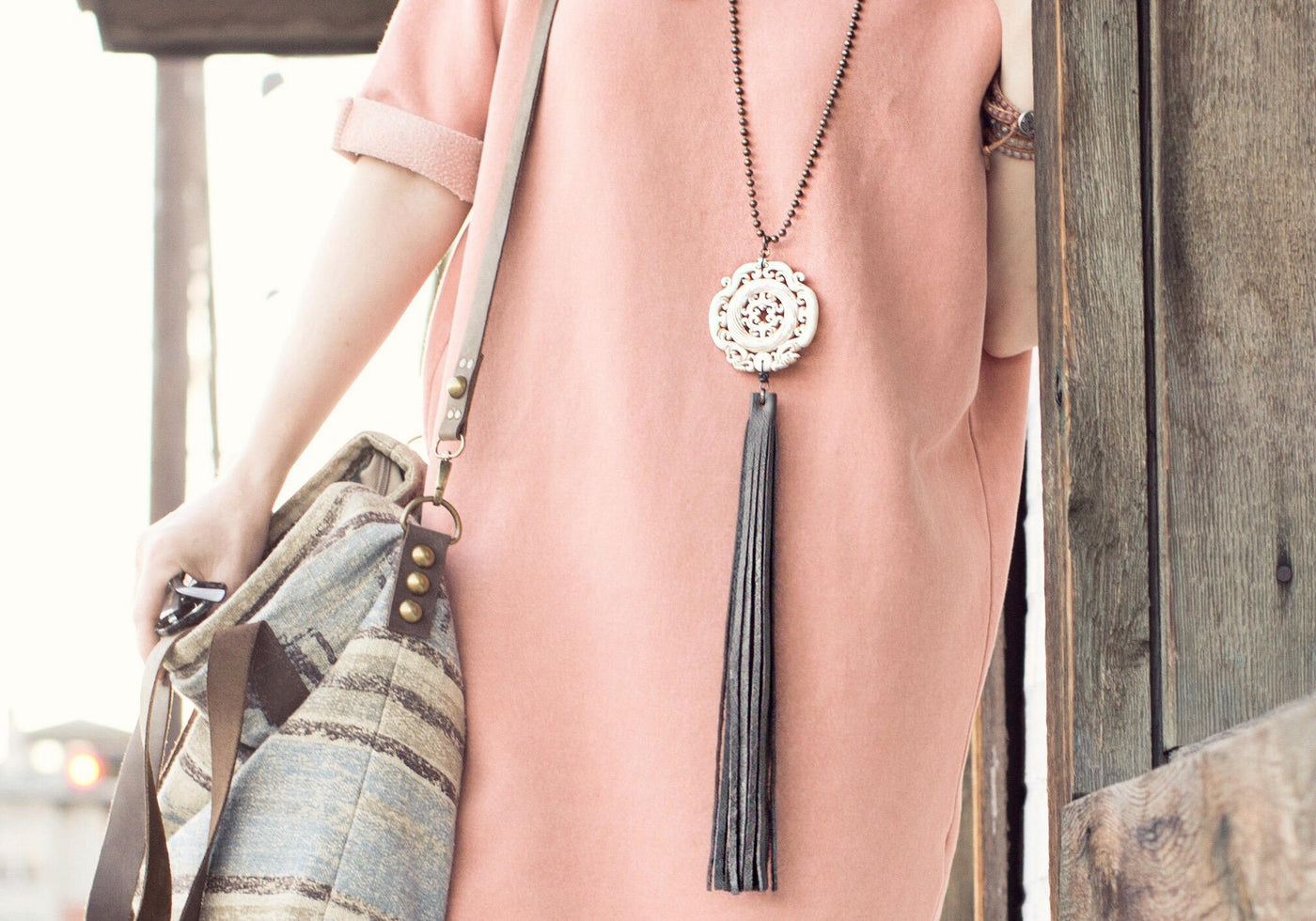 Jade Leather Bohemian Gypsy Ethnic Statement Necklace, Carved Stone Boho Big Gray Fringe Long White Pendant