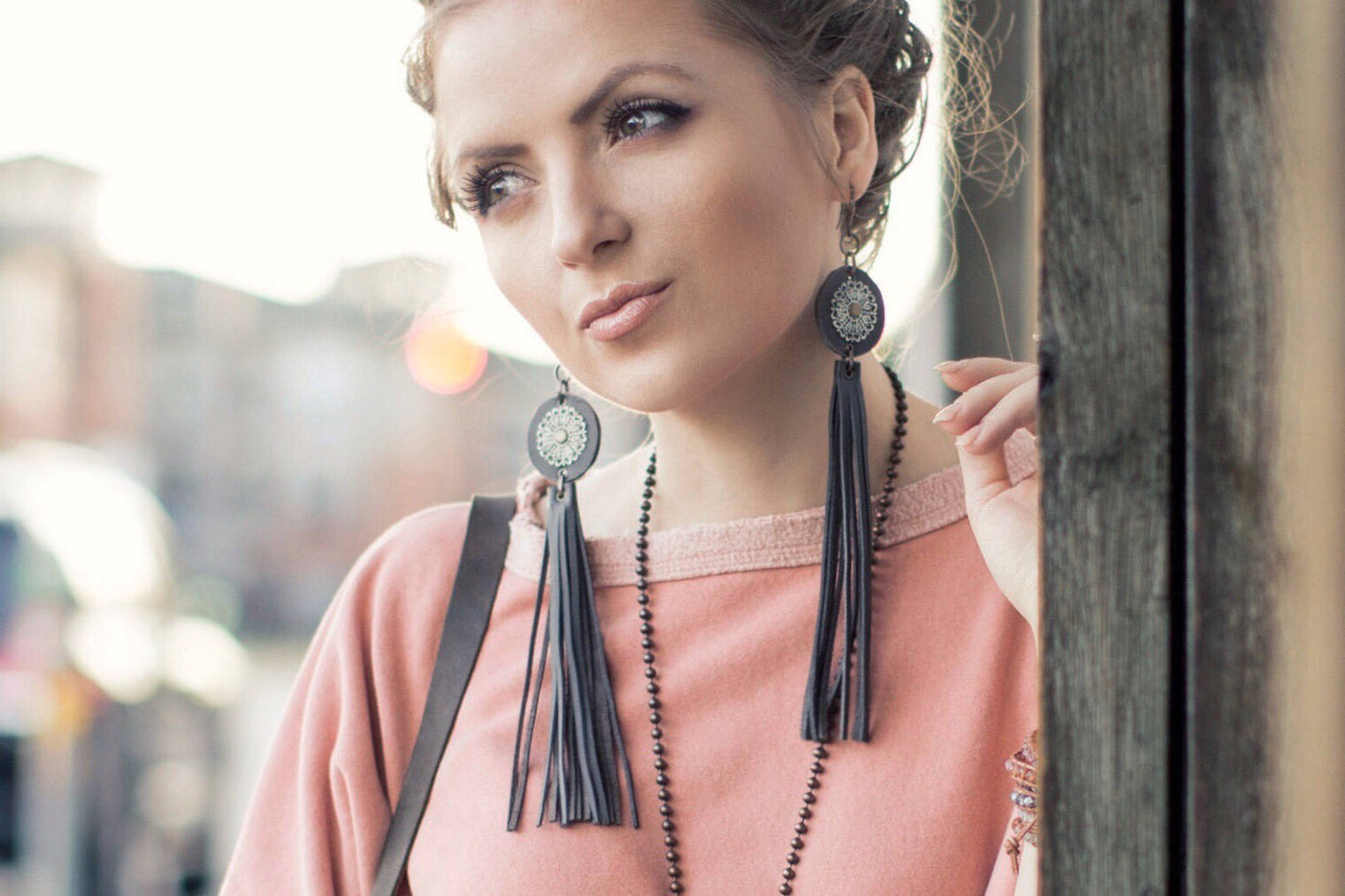 Leather Fringe Tassel Long Bohemian Gypsy Earrings, Boho White Gray Big Disc Statement Earrings