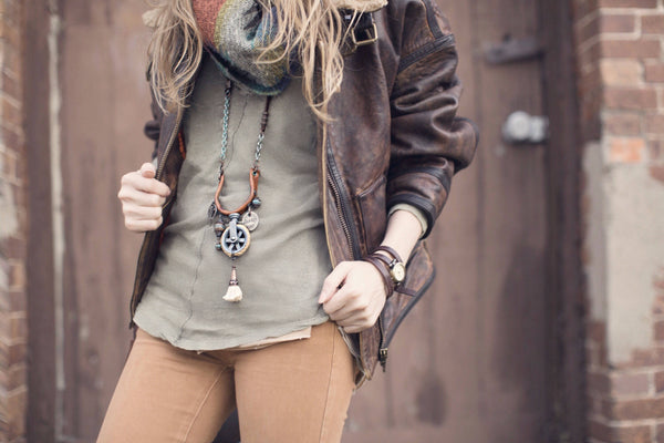 Boho Steampunk Rustic Pulley Leather Tassel Necklace, Distressed Journey Vintage Coin Agate Patina Gypsy Hippie Unique Unisex Jewelry