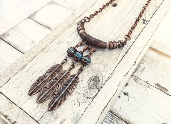 Boho Feather Necklace, Tribal Native Leather Necklace, Boho Chic Necklace, Statement Gypsy Necklace, N191