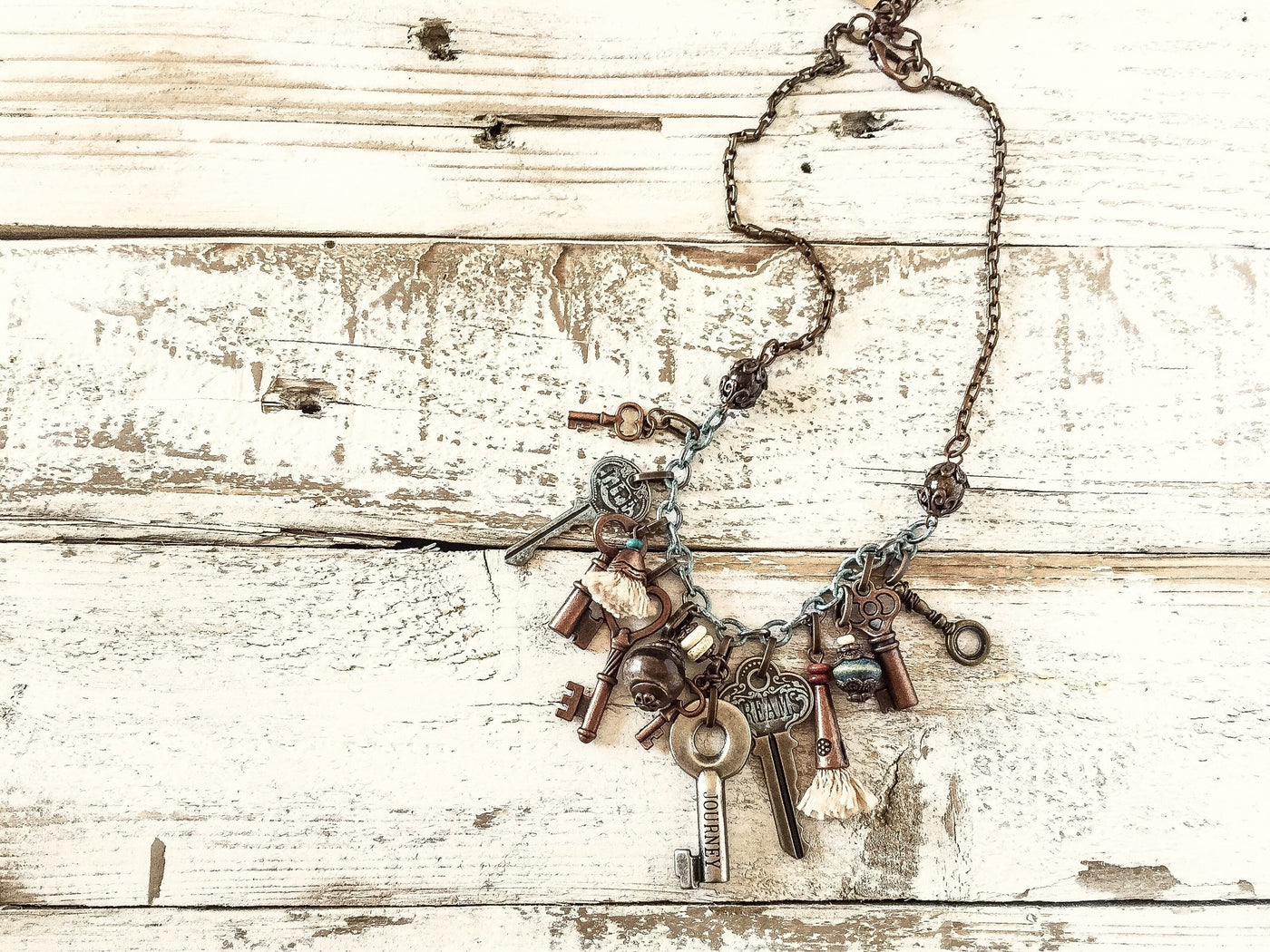 Boho Key Necklace, Boho Charm Vintage Necklace, Key Lover Message Necklace, Skeleton Stamped Key Necklace, N056
