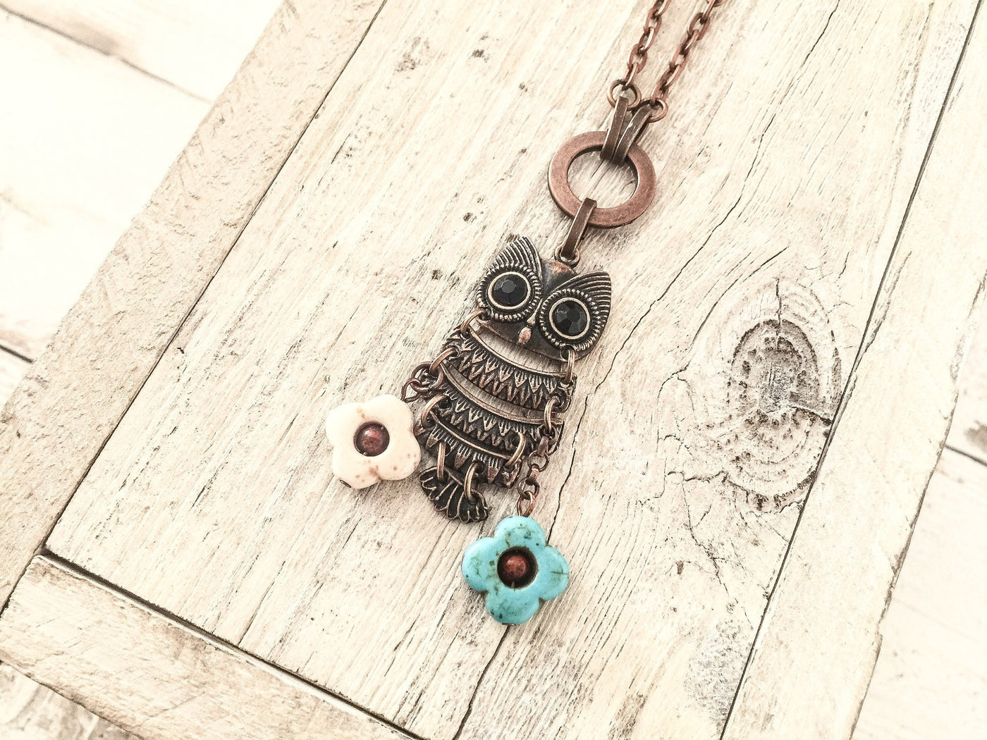 Boho Owl Pendant, Owl Gift Necklace, Owl Lover Necklace, Owl and Flower Pendant, N140