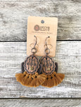 Leather Tassel Earrings, Ethnic Tassel Earrings, Rust Boho Earrings, Leather Gypsy Earrings, Native Fringe Rustic Earrings