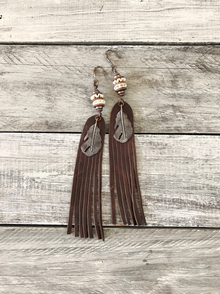 Leather Fringe Feather Bone Earrings - Tribal Ethnic Gypsy African Native American Indian Long Hand-Carved Statement Boho Eclectic Jewelry