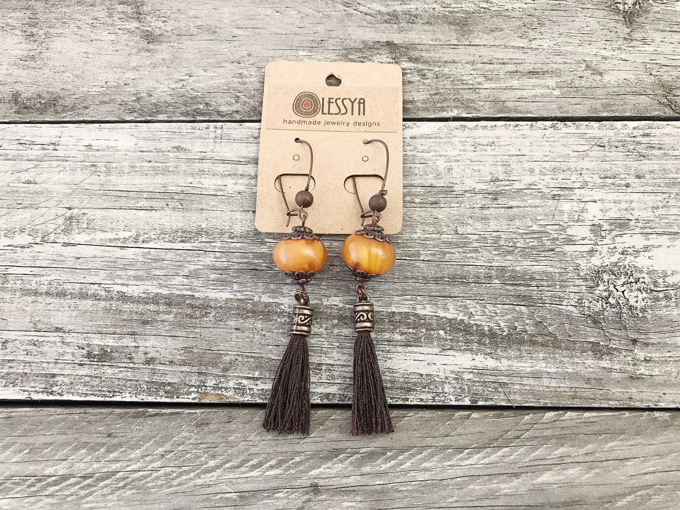 Boho Amber Tassel Earrings