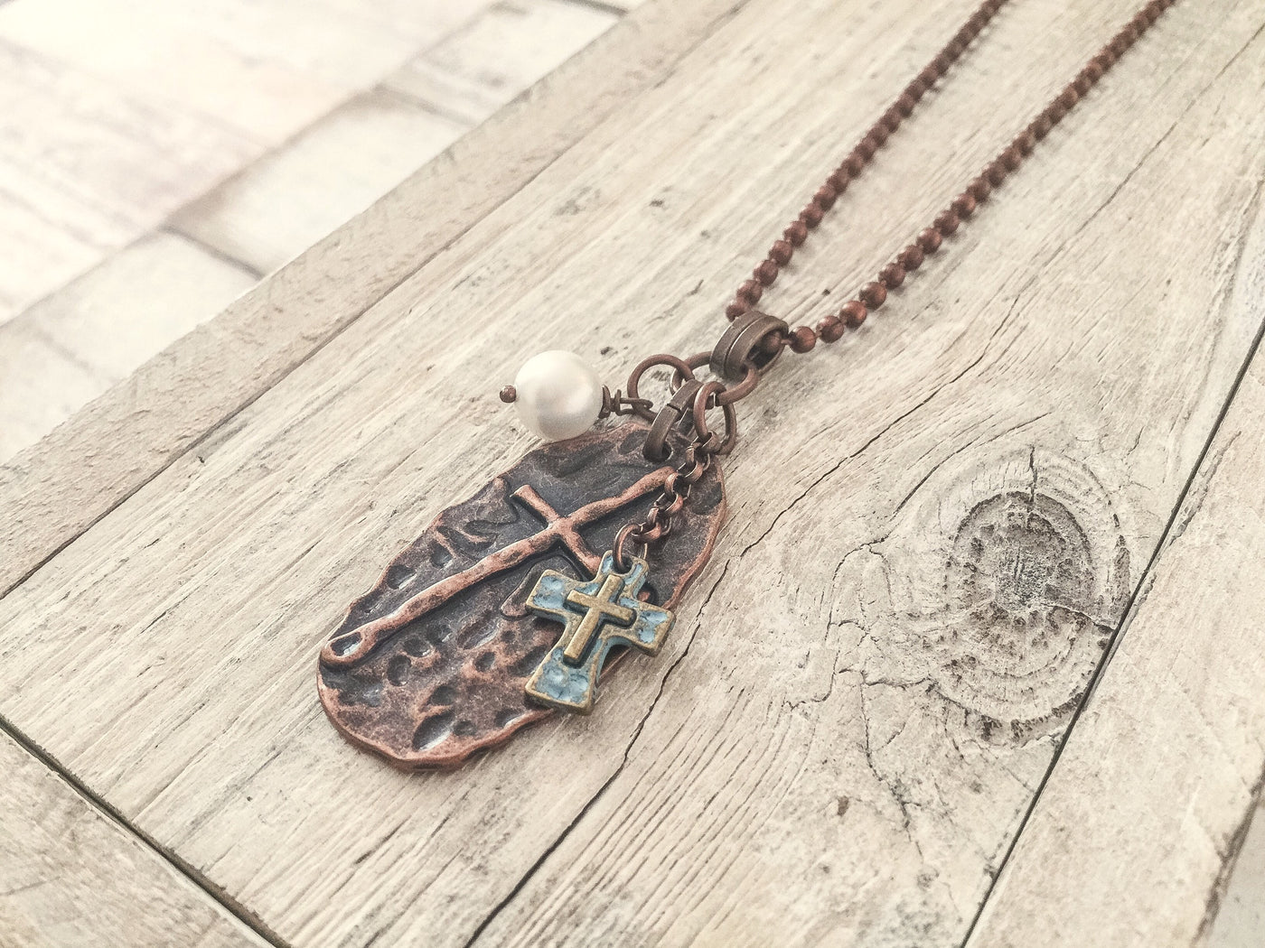 Cross Pearl Pendant - Copper Metal Bohemian Distressed Spiritual Rustic Earthy Boho Christian Necklace Men Women Unisex Handmade Jewelry