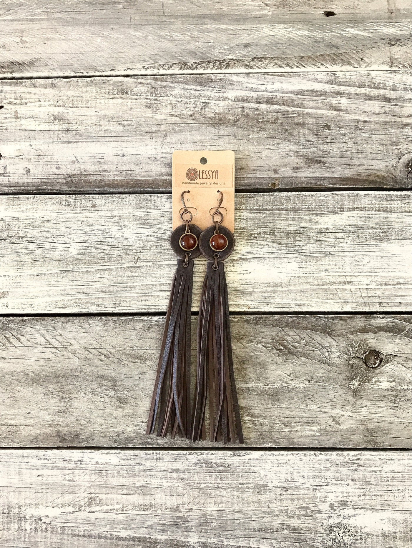 Carnelian Leather Fringe Statement Boho Gypsy Tribal Earrings