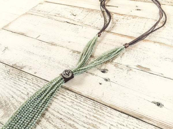 Boho Sparkly Mint Crystal Leather Necklace