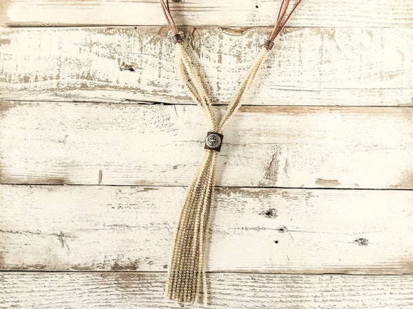 Boho Sparkly Cream Crystal Leather Necklace