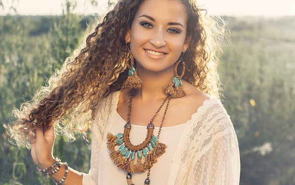 Gypsy Turquoise Tassel Rope Boho Statement Earrings