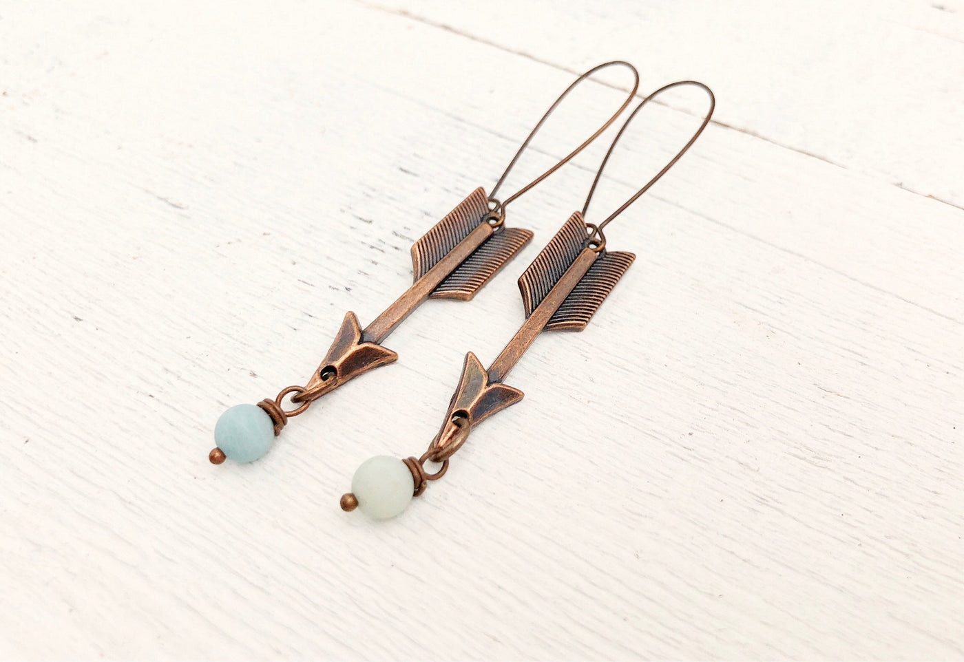 Arrow Amazonite Tribal Boho Earrings