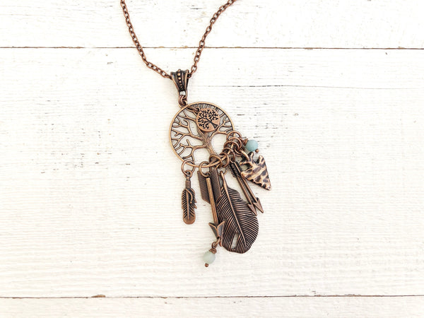 Tree of Life Feather Arrow Tribal Boho Gypsy Symbol Necklace