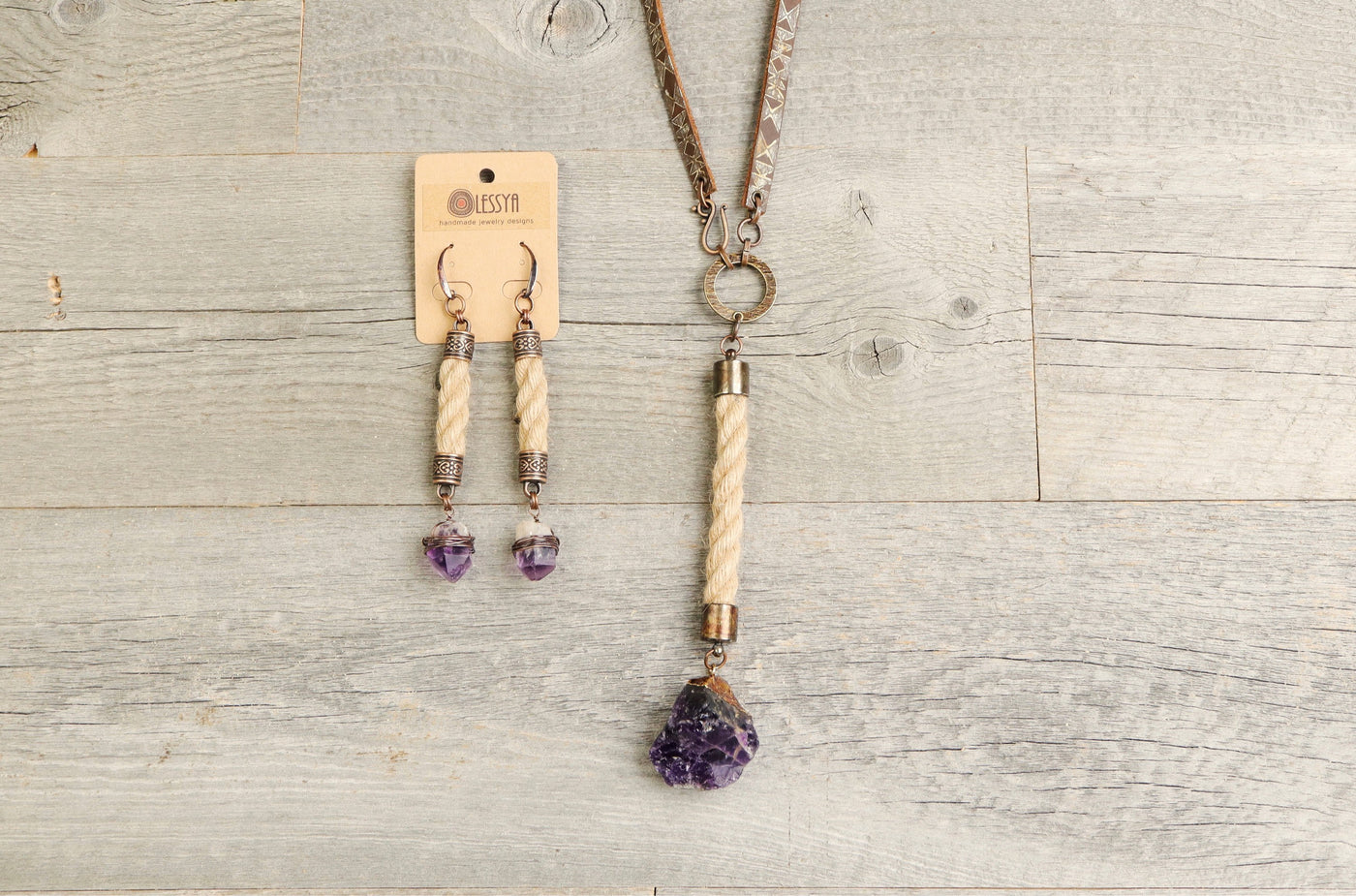 Amethyst Rope Leather Boho Gypsy Ethnic Necklace