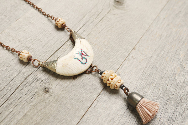 Crescent Moon Tribal Ethnic Boho Gypsy Tassel Necklace