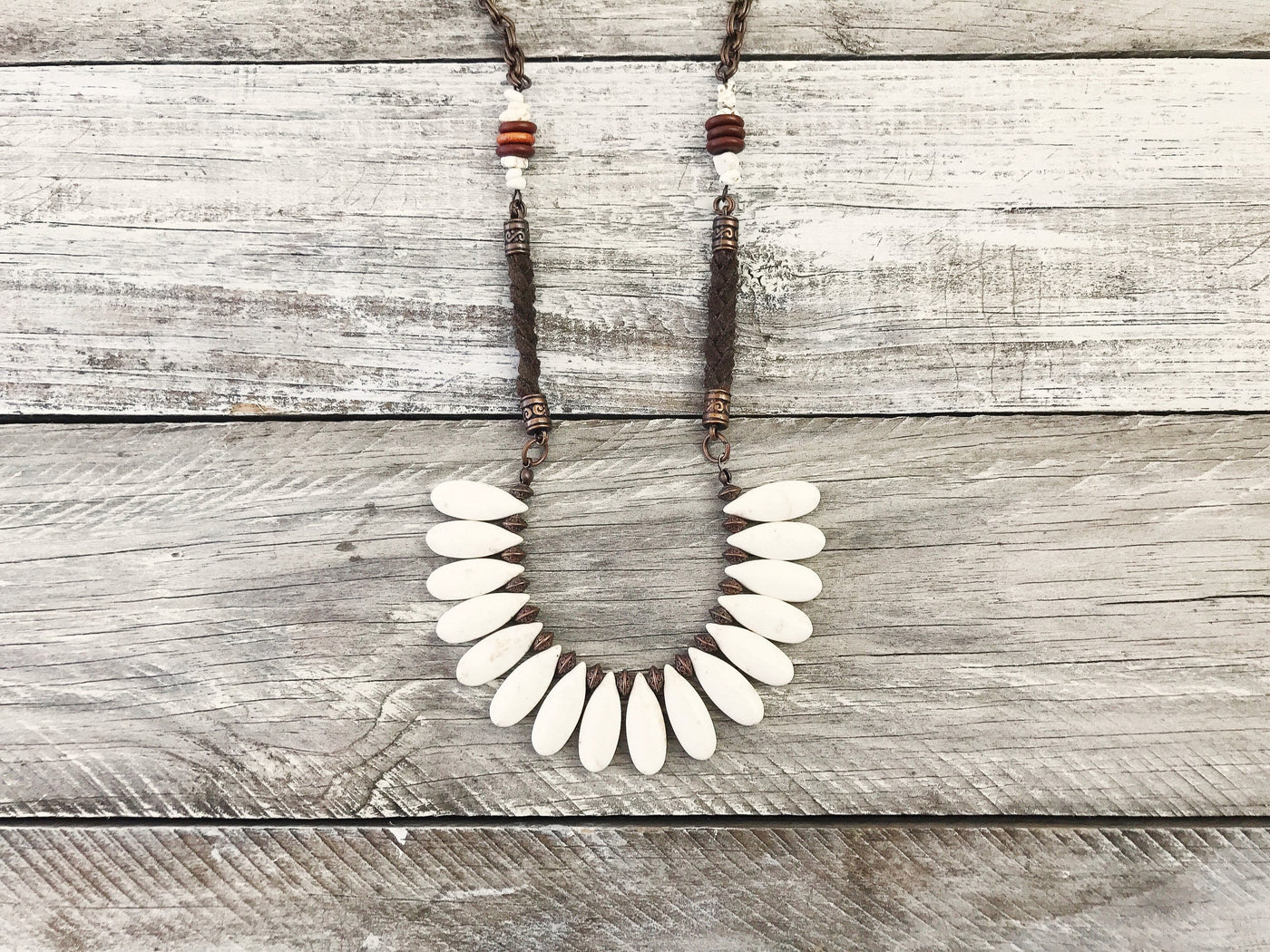 Boho Tribal Ethnic White Teardrop Stone Gypsy Necklace