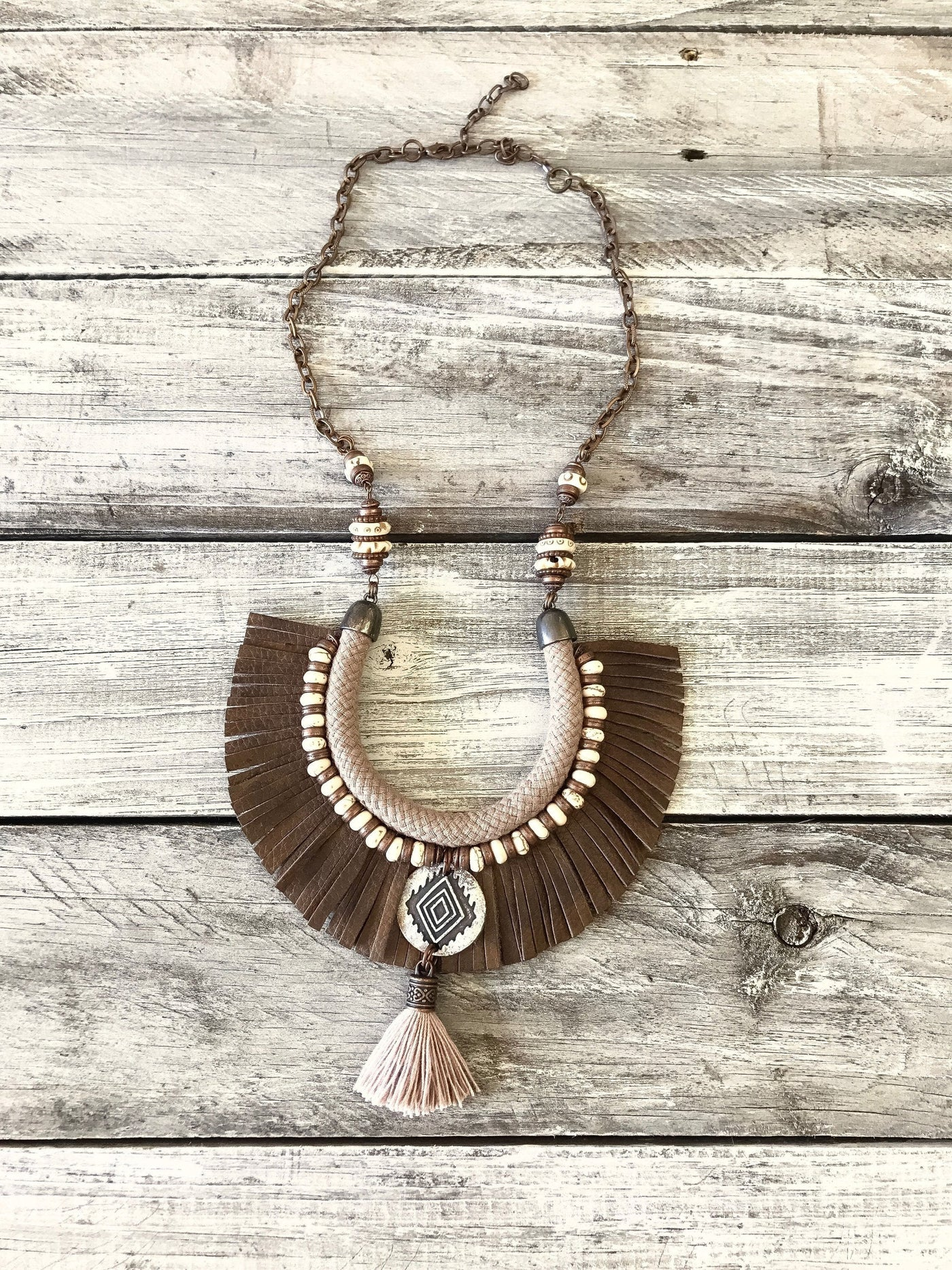 Boho Tribal Leather Fringe Ethnic Statement Necklace