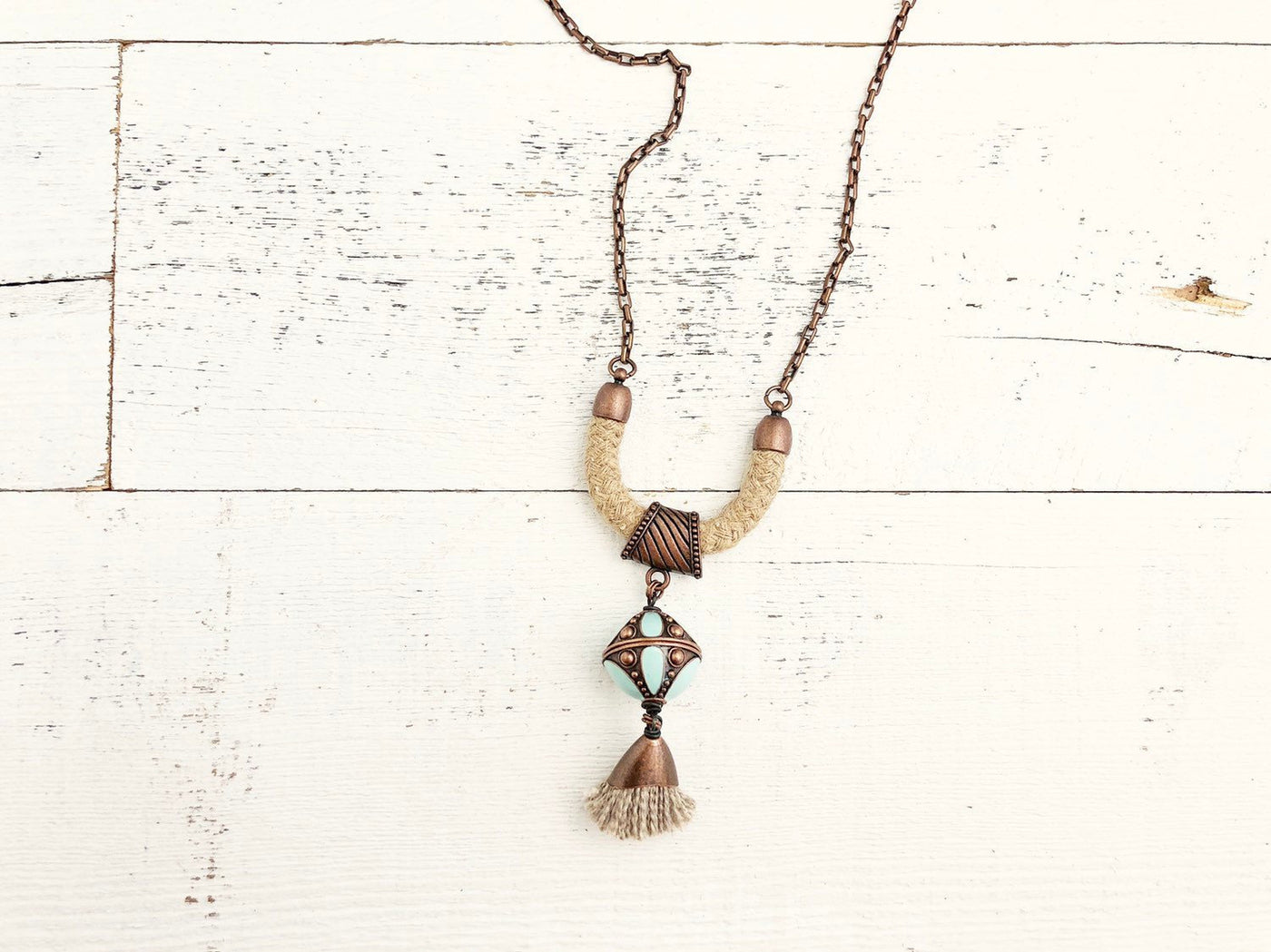 Boho Gypsy Rope Tassel Turquoise Blue Ethnic Necklace