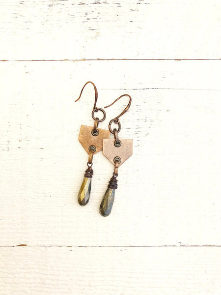 Bohemian Teardrop Pyrite Copper Gypsy Geometric Earrings