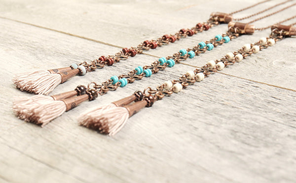 Long Boho Turquoise Blue Tassel Gypsy Necklace