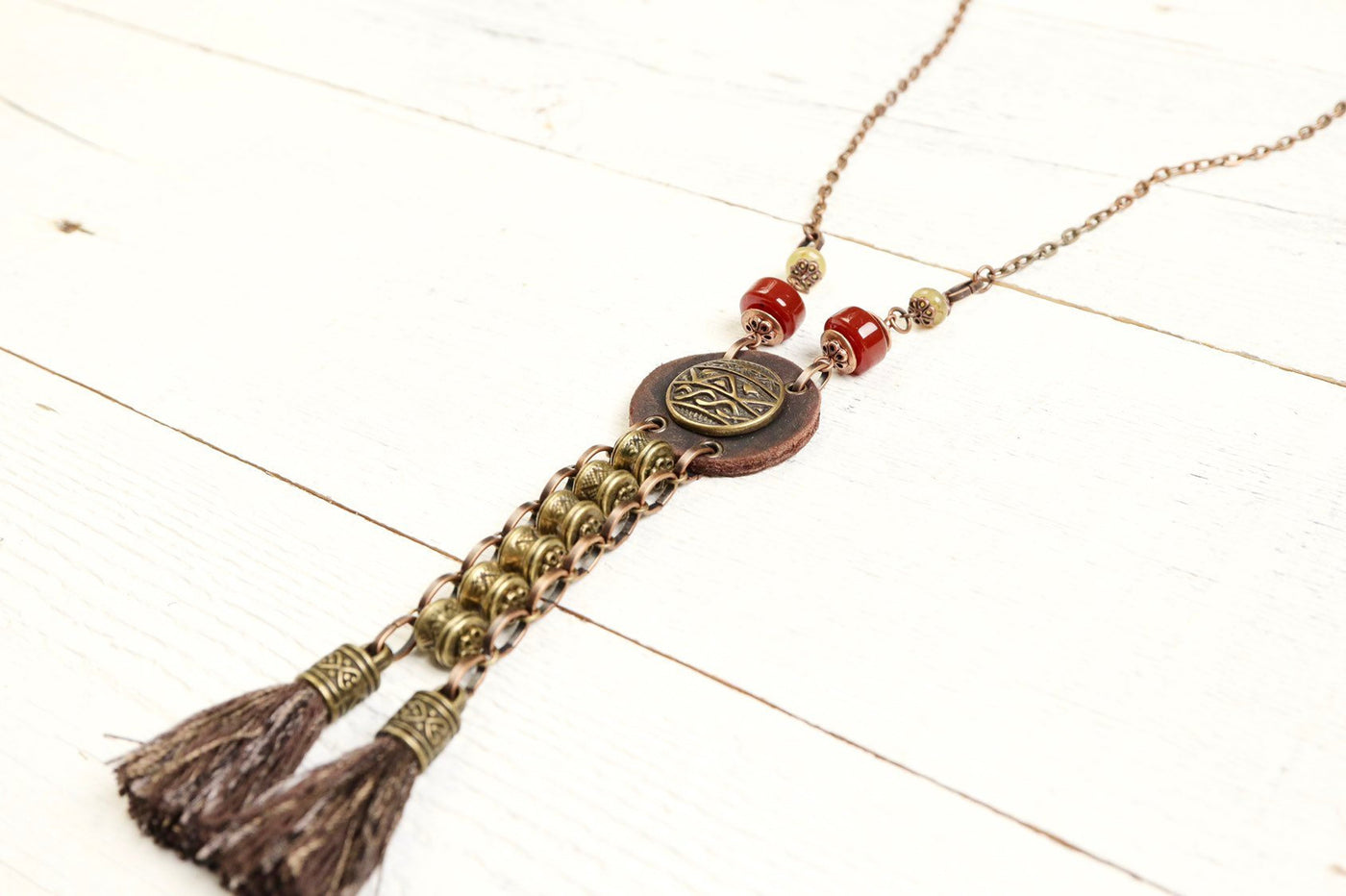 Bohemian Ethnic Leather Agate Tassel Gypsy Tribal Necklace