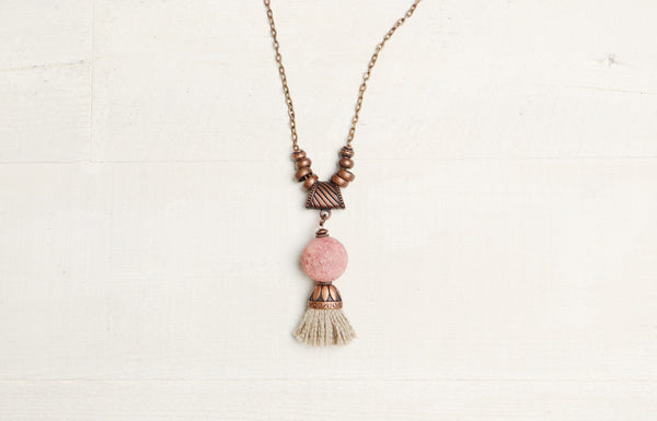 Coral Tassel Pink Ethnic Boho Gypsy Necklace