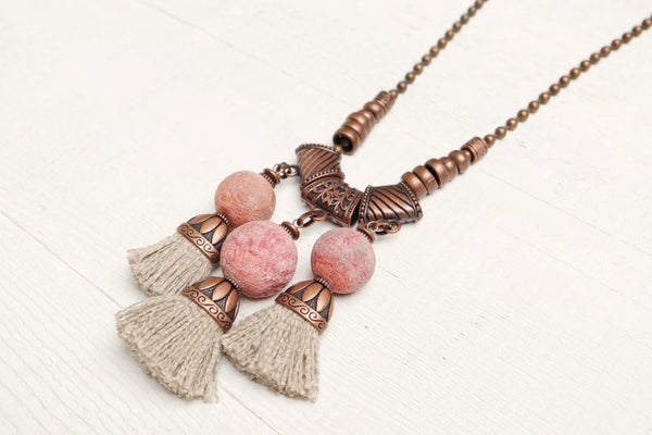 Coral Tassel Pink Ethnic Boho Gypsy Statement Necklace