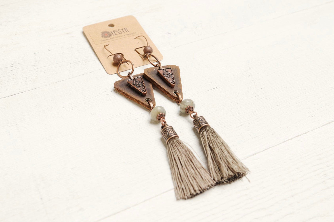 Labradorite Leather Tassel Long Ethnic Earrings