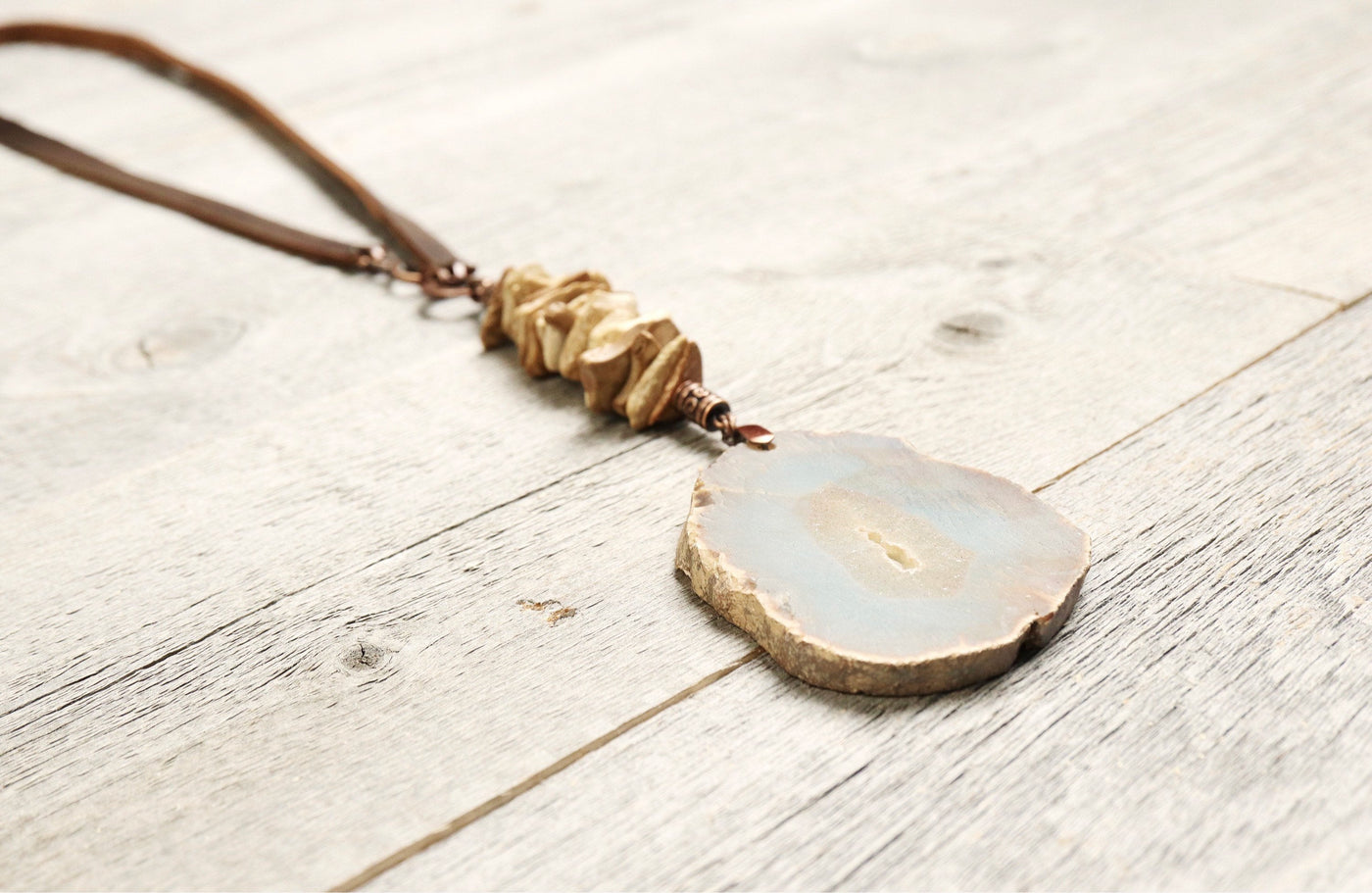 Agate Wood Leather Boho Gypsy Necklace