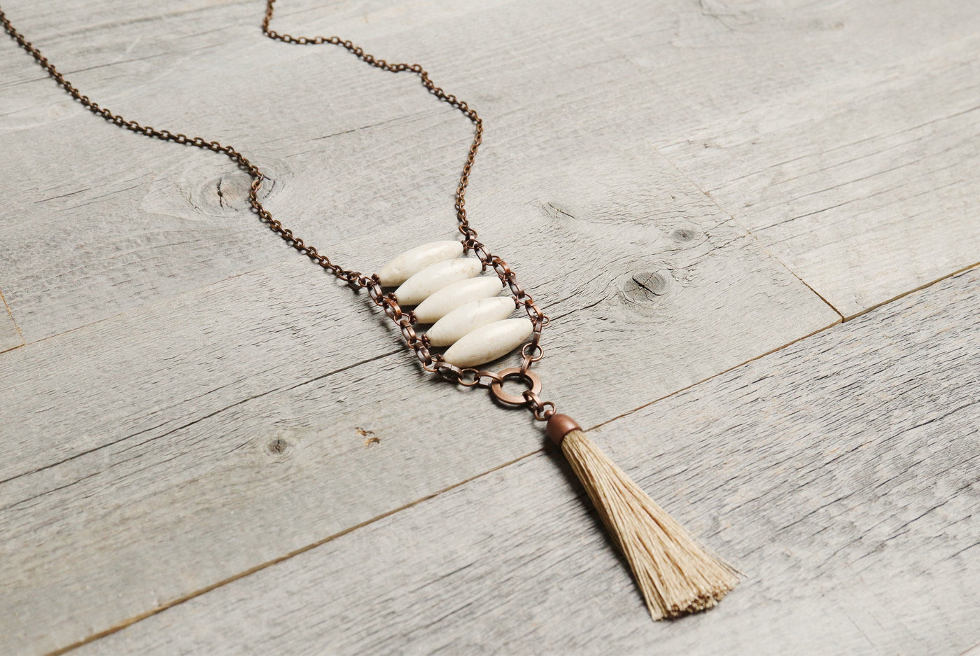 White Stone Tribal Boho Gypsy Ethnic Tassel Necklace