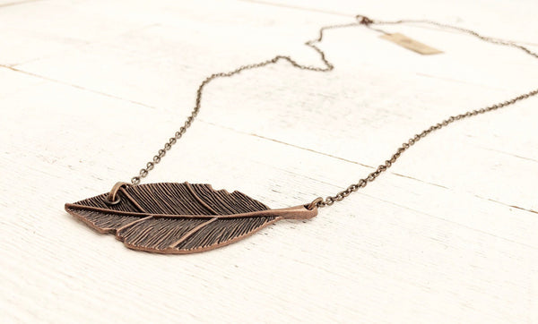 Leaf Symbol Boho Copper Pendant Necklace